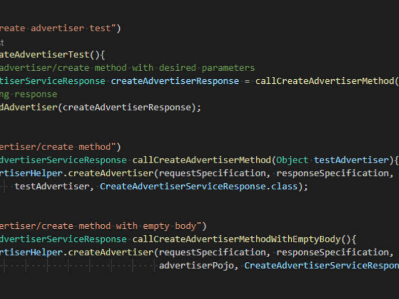 Automation of the external API functionality testing for a client in the Ad Tech field
